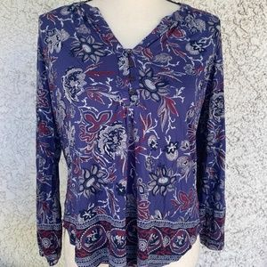 Lucky Brand Deep Purple/Blue Floral Tunic Small